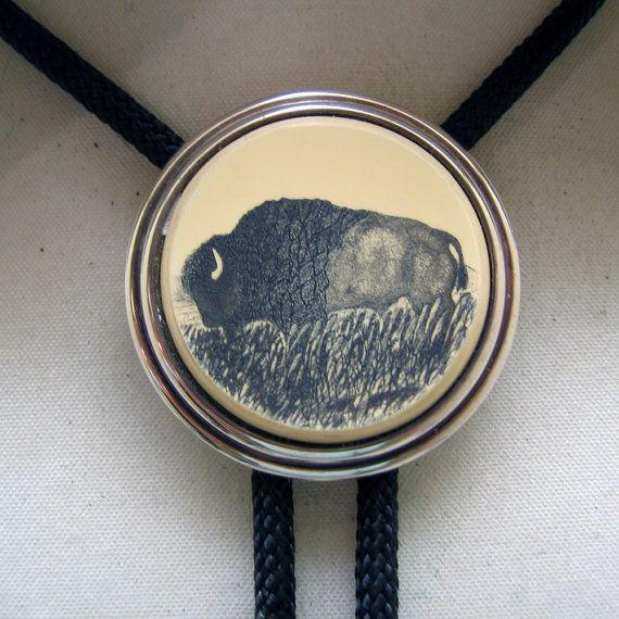 a8a760b1f Vintage Barlow Scrimshaw Buffalo or Bison Bolo Tie | My Vintage ...