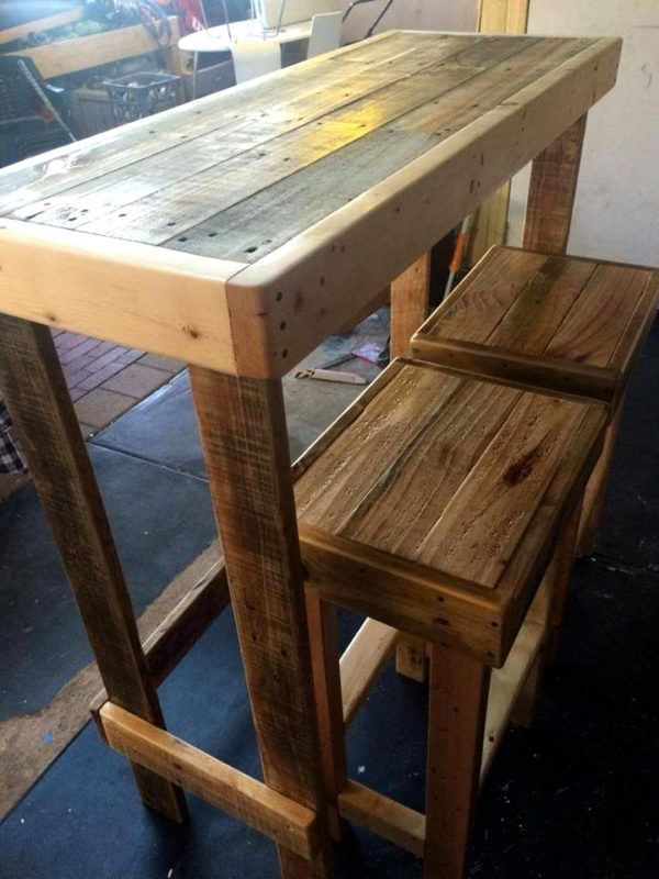 recycled pallet party set or lunch bar with stools ...