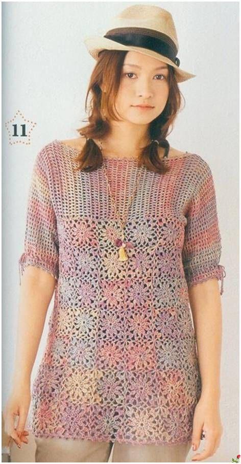 Inspiraes De Croche Com Any Lucy Tnica Crochet Summer Top And