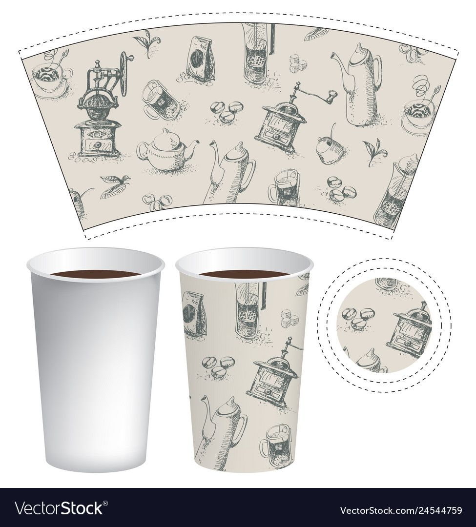 Vector paper Cup template for hot drink in retro style