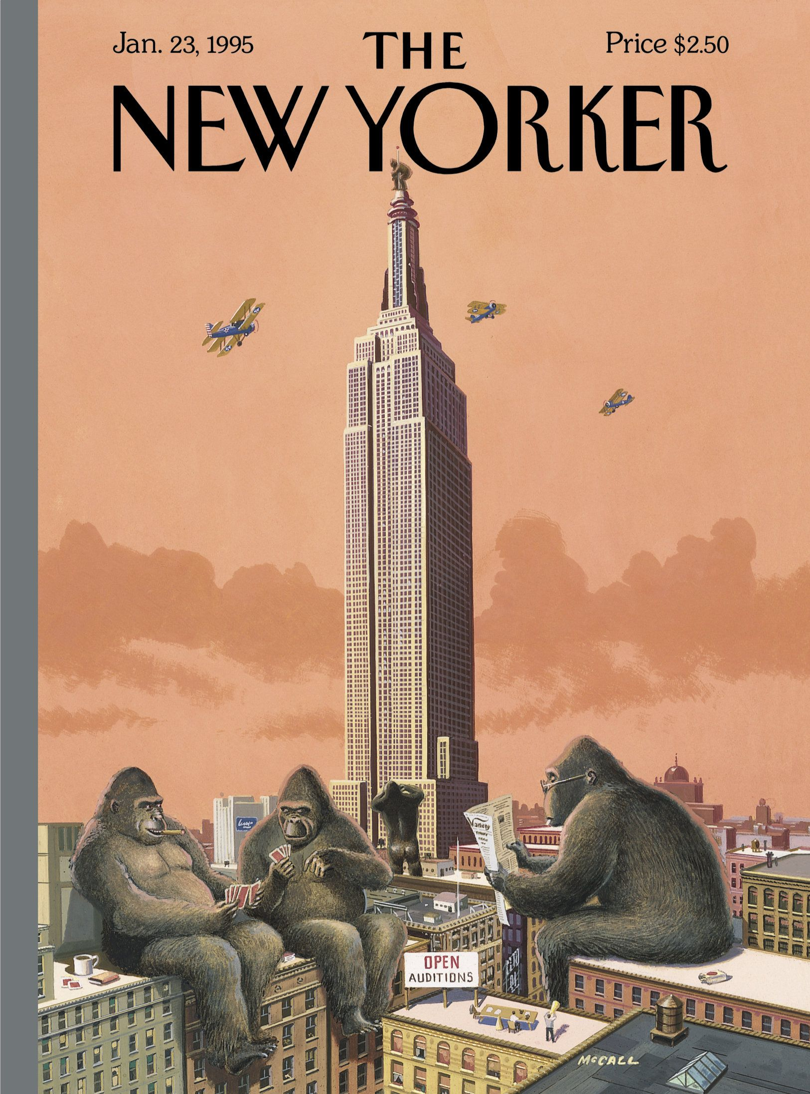 """The New Yorker - Monday, January 23, 1995 - Issue # 3643 - Vol. 70 - N° 45 - Cover """"King Kong Call"""" by Bruce McCall"""
