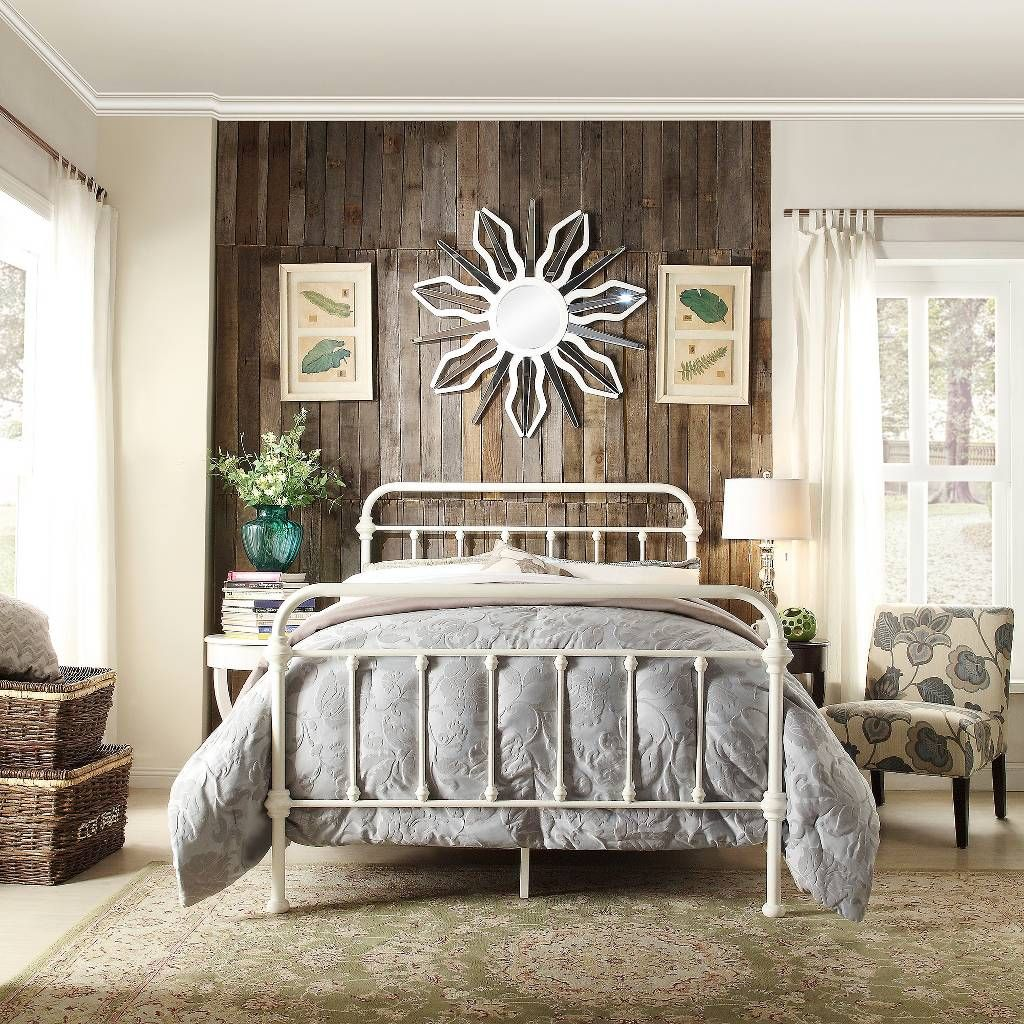 Metal Bed Queen Size Victorian Style Distressed White Bedroom Country Iron  New