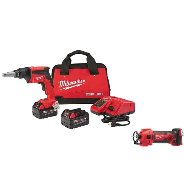 milwaukee 2866-22p m18 fuel drywall screw gun- xc kit with cut out ...