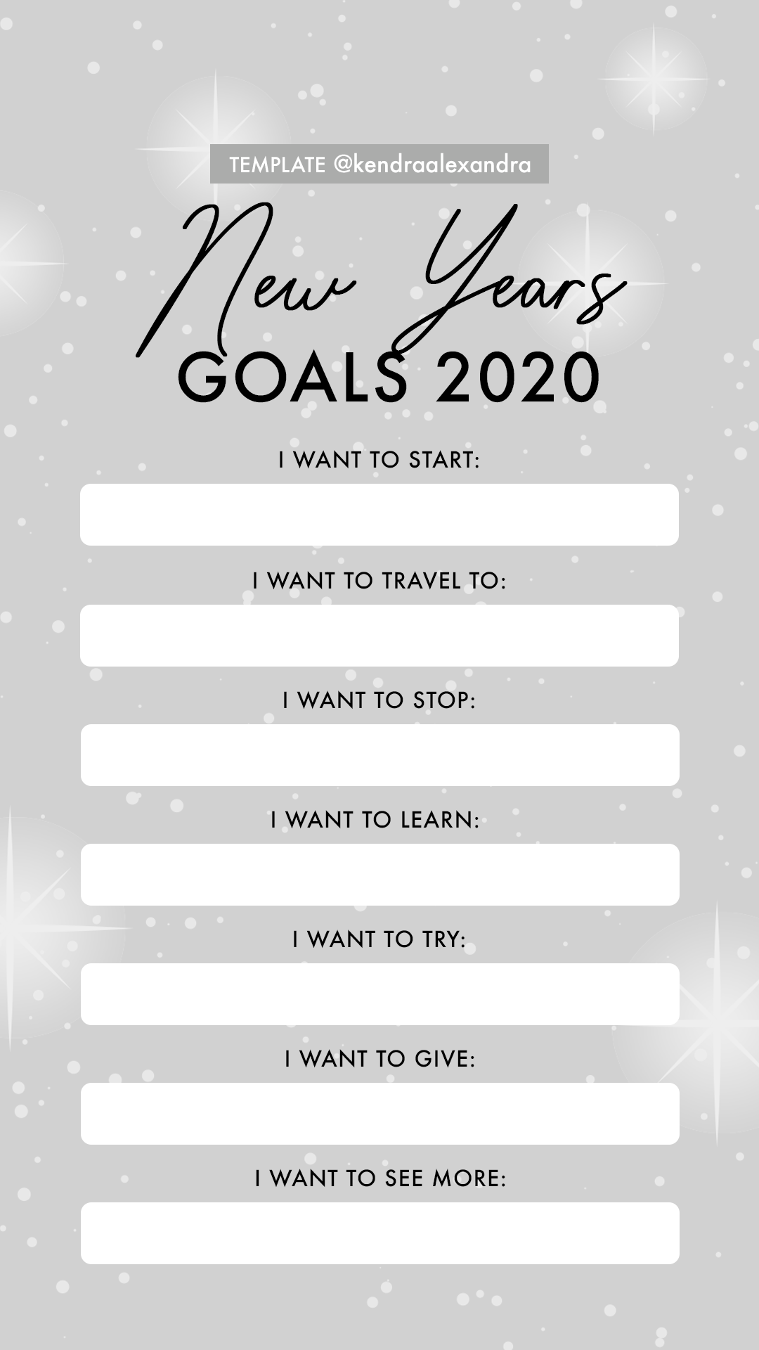 2020 New Years Goals Resolutions Instagram Story Template