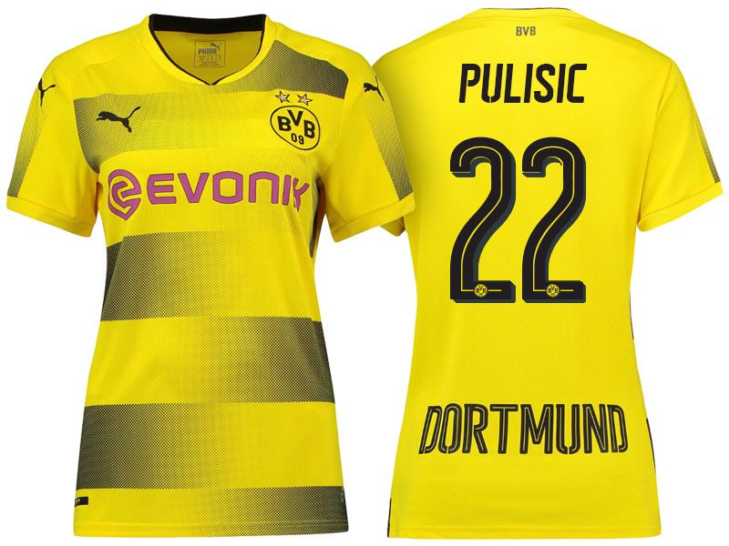 c5f8490ee Borussia Dortmund  22 Christian Pulisic 17-18 Home Short Shirt Women Cheap Football  Shirts