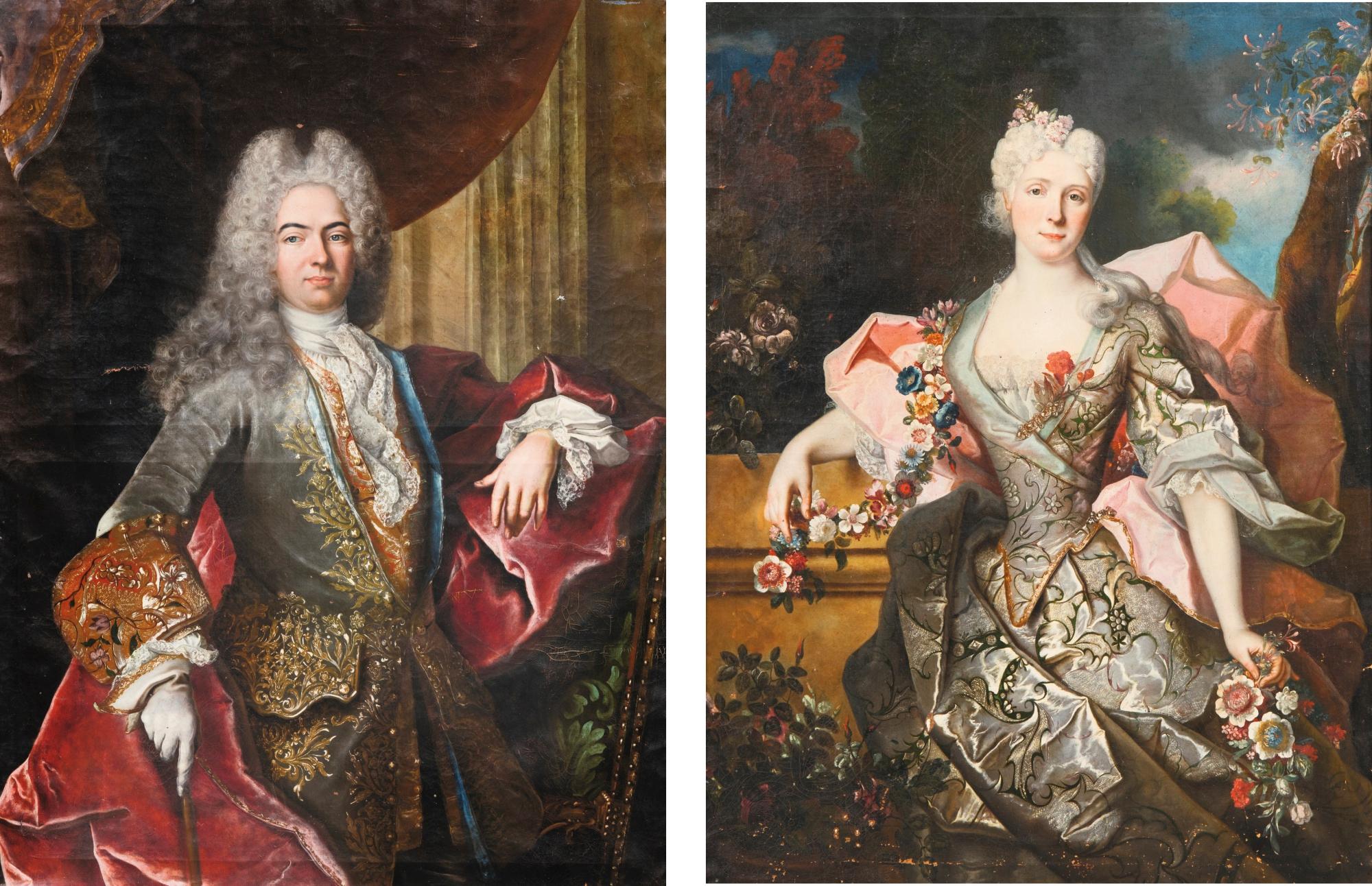 Louis Cosson Baron De Guimps 1689 1760 And Anne Fradin Baronesse De Guimps Early 18th C By J Van Den Velde Portrait Lady Female