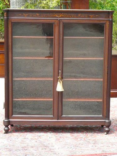 ANTIQUE 19C MAHOGANY BOOKCASE DISPLAY CABINET Attb HORNER Furniture Co | eBay