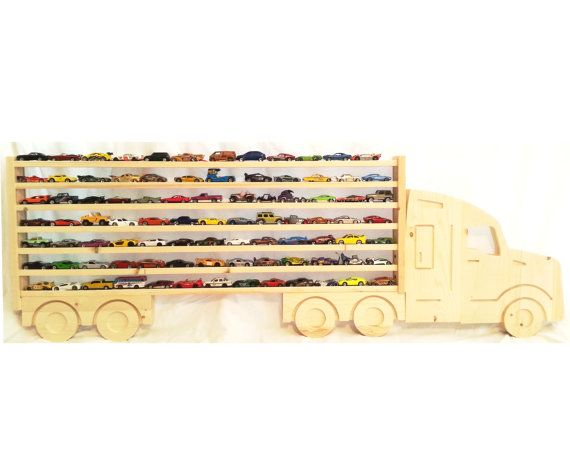 Large Wooden Semi Truck Hanging Storage Shelf For Hot Wheels And Matchbox Cars Nearly 5 Feet Long Hanging Storage Hanging Storage Shelves Hot Wheels Storage