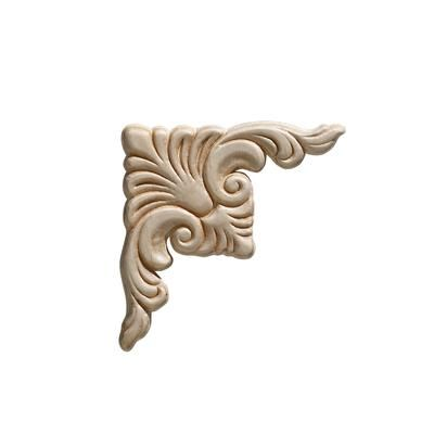 Ornamental Mouldings   Embossed Acanthus Corner Wood Ornament 3 3/4 X 3