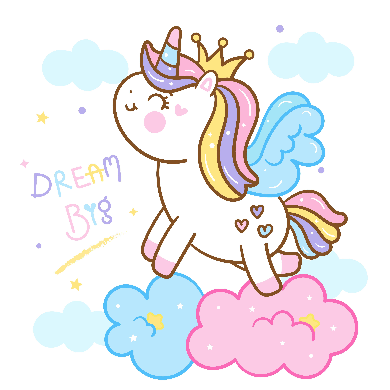Cute Unicorn Cartoon Kawaii Vector Pony Child Horse Horn Series Girly Doodles Fairytale Animal Sketsa Kuda Poni Seni Abstrak