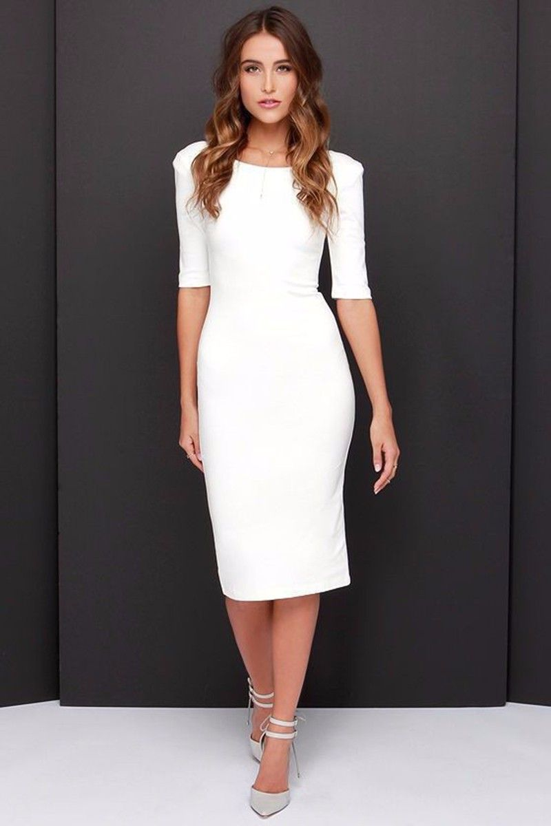 Fashion 2016 Autumn Women Dress Quality Elegant Zip Backless Bodycon Office Women Bodycon Dress Classy Dress White Bodycon Dress [ 1200 x 800 Pixel ]