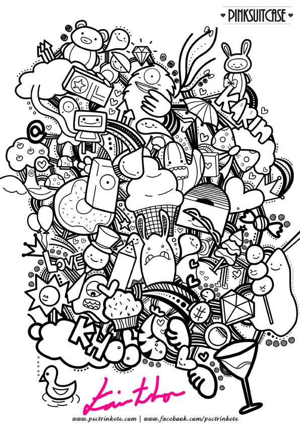 Abstract doodle zentangle coloring pages colouring adult for Monster advanced search
