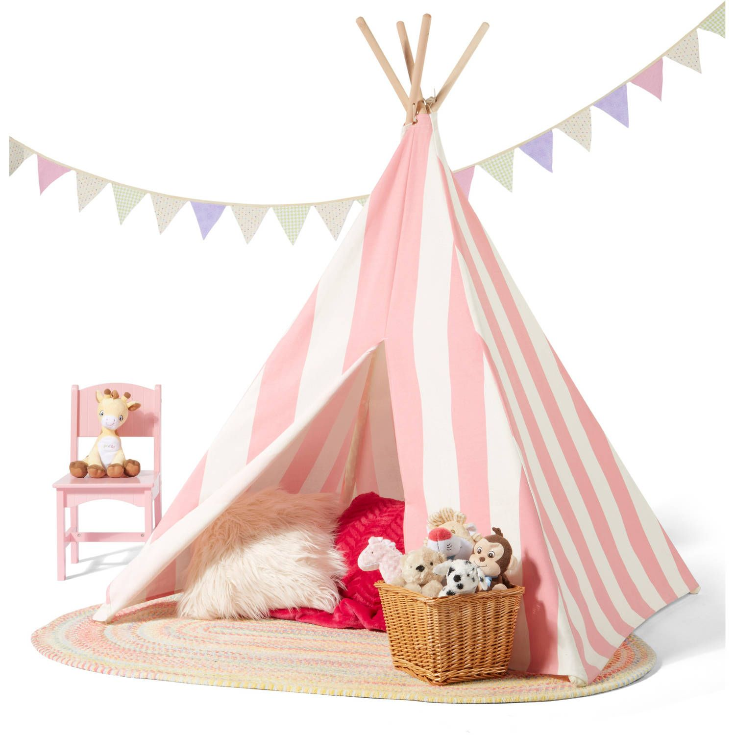 Childrenu0027s Teepee Tent Pink/White Stripes - Walmart.com  sc 1 st  Pinterest & Childrenu0027s Teepee Tent Pink/White Stripes - Walmart.com | Mia ...