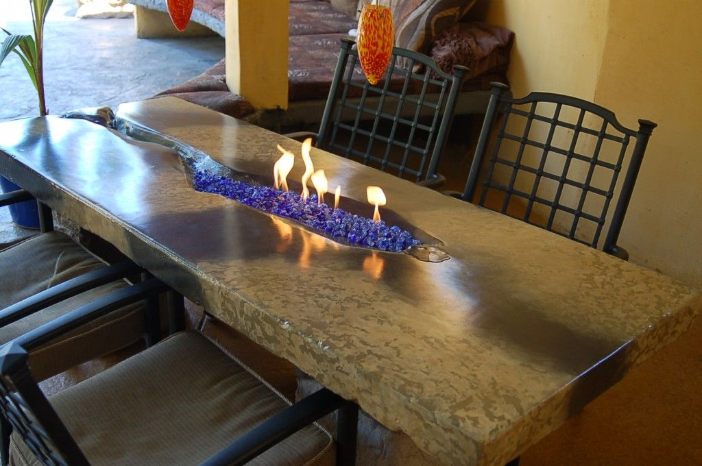 Packed Look Precast Concrete Table W Fire Pit