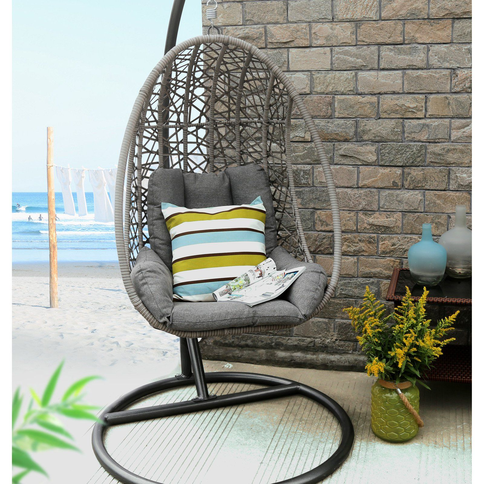 Baner Garden All Weather Wicker 1 Person Oval Egg Hanging Chair With Cushion Swinging Chair Hanging Swing Chair Hanging Chair