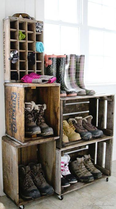 rangement chaussures fabriquer avec caisse bois brut. Black Bedroom Furniture Sets. Home Design Ideas