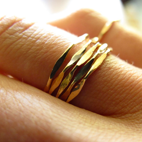 5 I'm Hammered Gold Stacking Rings Set of Five 14K by delialangan