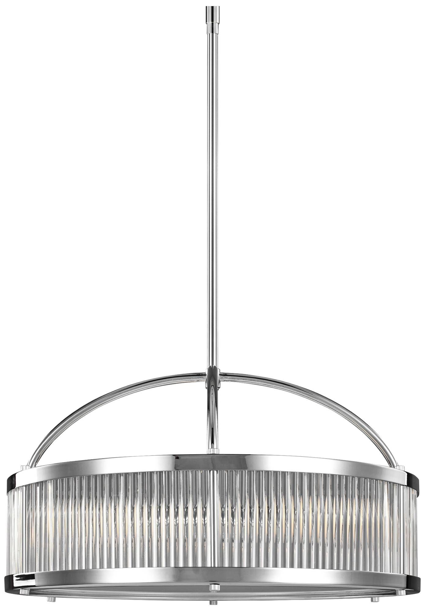 Feiss Paulson 21 W Gl Rod And Chrome Drum Pendant Light 18w66 Lamps Plus