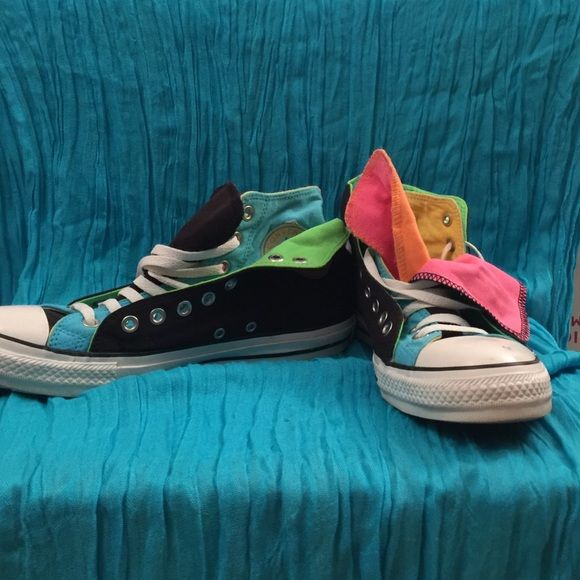 Converse Sneakers Multi colored high top Converse All Stars in excellent condition unisex women's 11 men's 9 Converse Shoes Athletic Shoes
