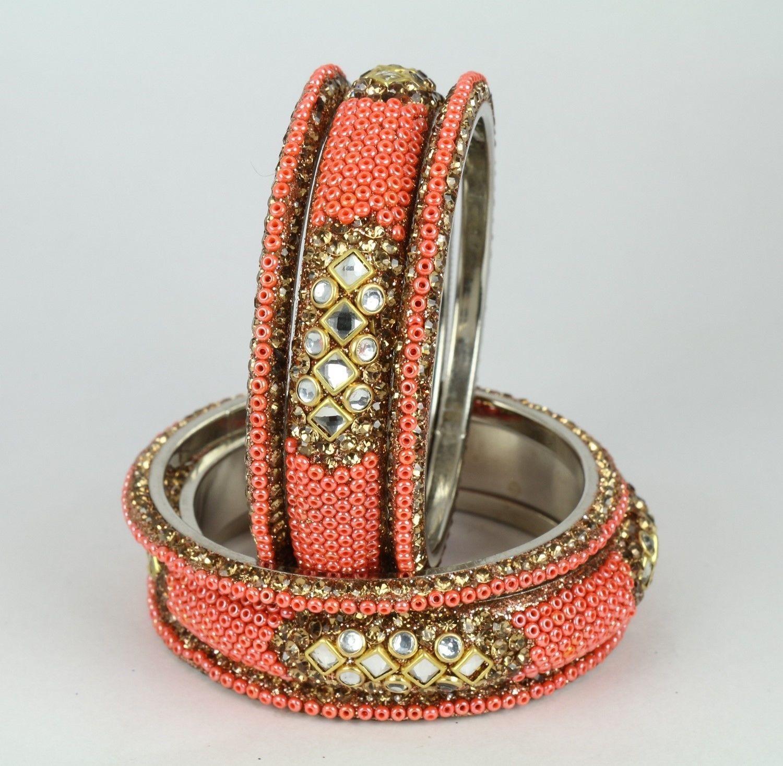 Indian bangle bracelet pc peach fashion women kada indian