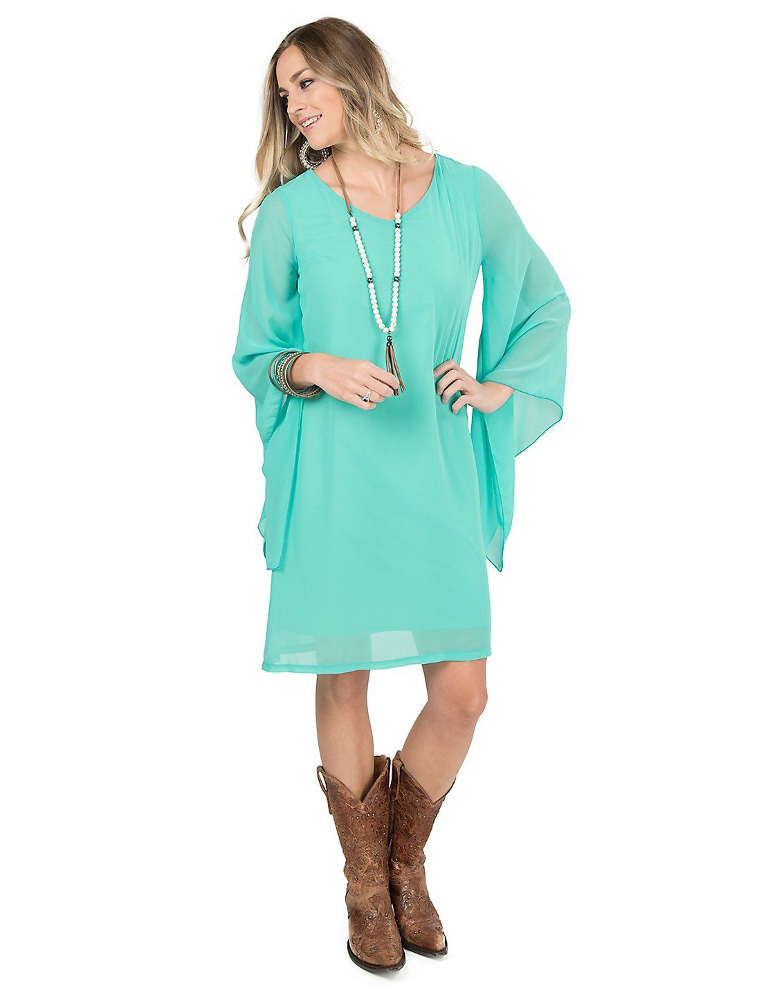 Rock 47 By Wrangler Womens Turquoise With Long Bell Sleeve Dress
