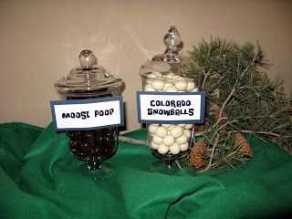 Colorado Party themed candy. Moose poop (chocolate covered nuts) and Colorado Snowballs (yogurt covered malt balls)