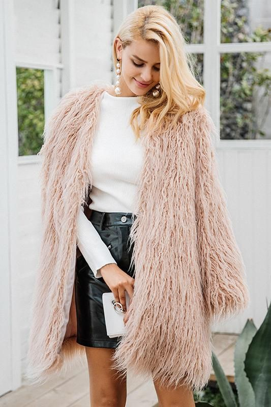 ae958121eb8f 8DESS Fluffy Long Faux Fur Coat Women Winter Fake Fur Pink Fashion Colored Fur  Coats Outerwear