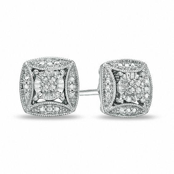 Zales Diamond Accent Vintage-Style Love Knot Stud Earrings in Sterling Silver MubEgfZA
