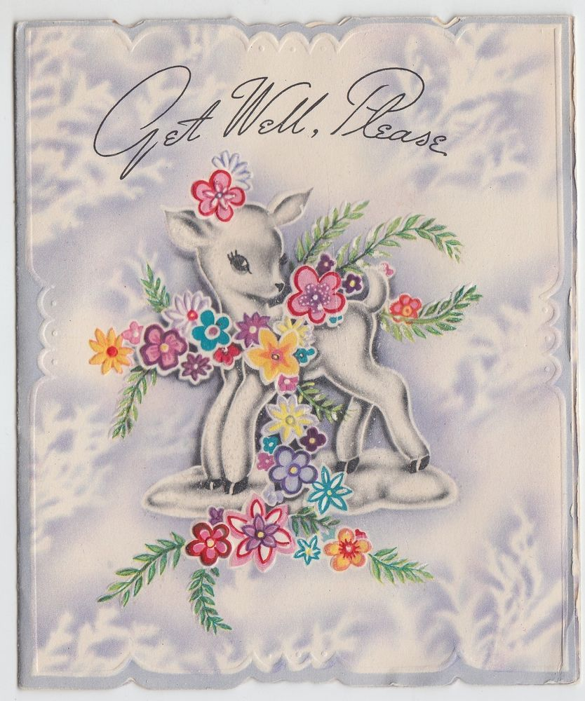 Vintage Little Deer With Glittered Flowers Get Well Greeting Card