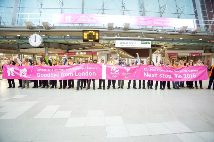 Station staff celebrate a job well done at Stratford station