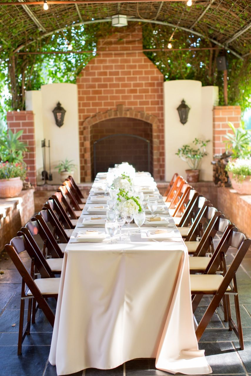 Long Tables And Mahogany Folding Chairs Ivory Wedding