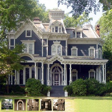 This Is A Second Empire Style Victorian Home With The Somewhat Flat Primary Roof And The Sort Of Curved S Victorian Homes Claremont House Victorian Style Homes