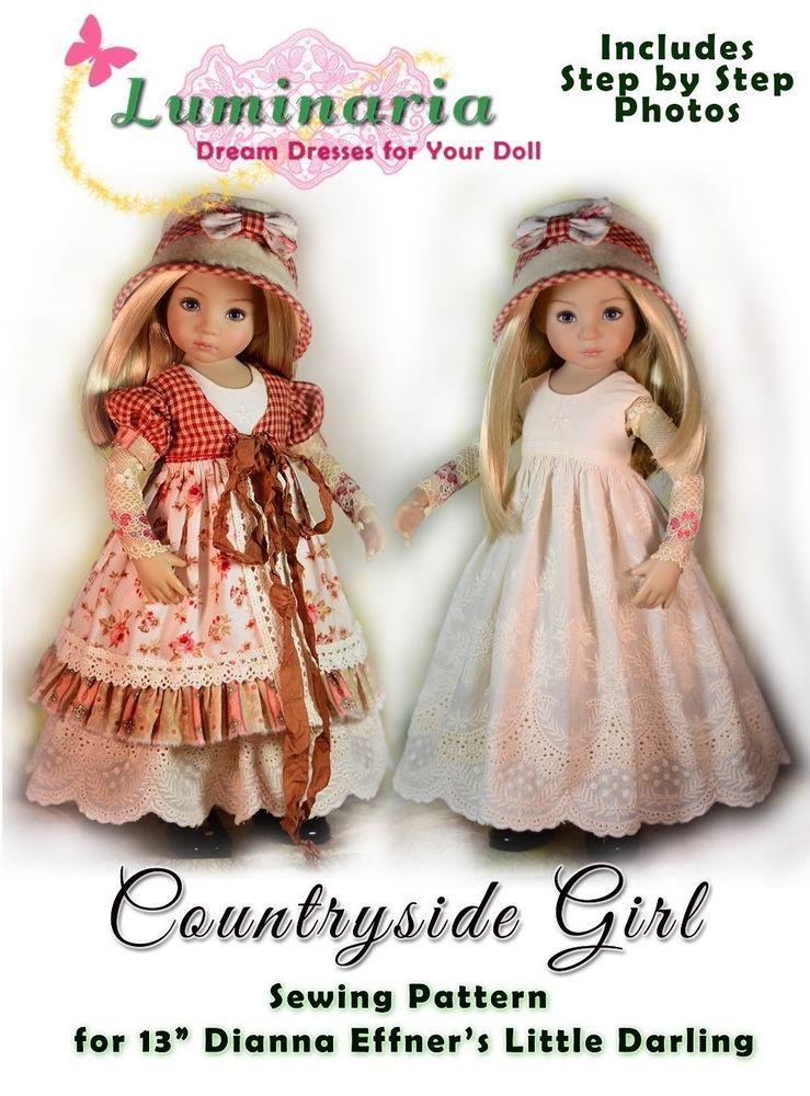 """PDF Dress Pattern Fits 13/"""" Dianna Effner Little Darling My Meadow Avery Iple KID"""