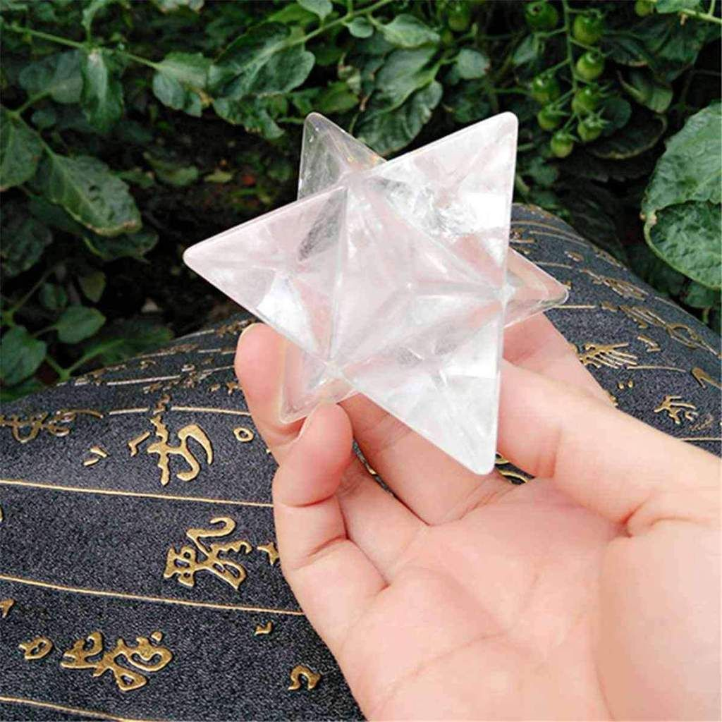 Natural Clear Quartz Crystal Stone Merkaba Star Reiki