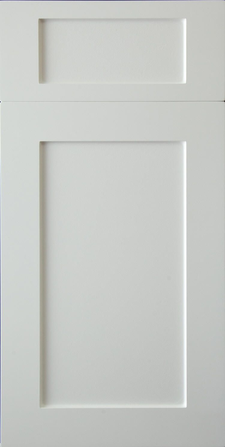 White thermofoil cabinet doors and drawers
