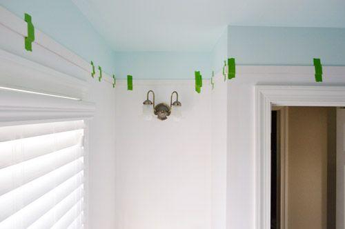 Adding Color And Trim To A Bathroom Ceiling Young House Love Bathroom Ceiling Main Bathroom Ideas Blue Ceilings