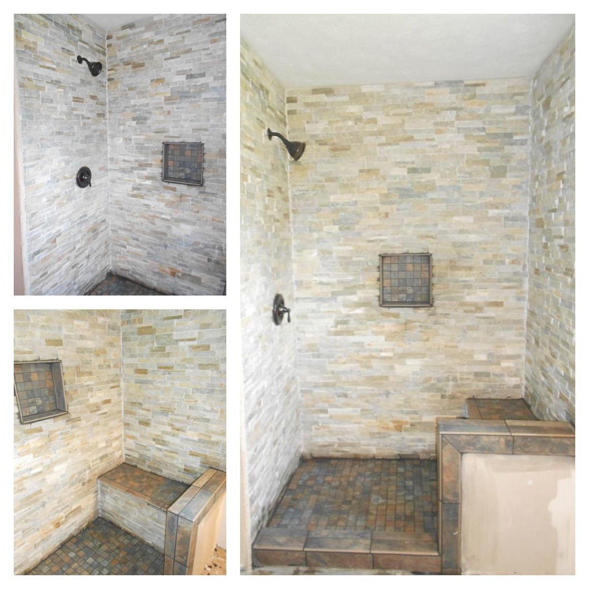 Gray stone shower with bench. Grey stone shower with bench.   Our ...