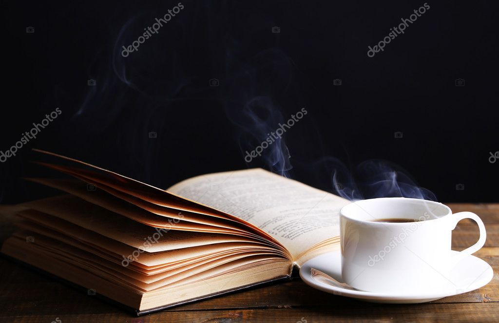 Cup Of Hot Coffee With Book On Table On Dark Background Stock