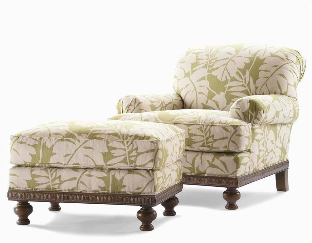 Elegance Upholstered Chair U0026 Ottoman With Turned Feet By Century   Alison  Craig Home Furnishings