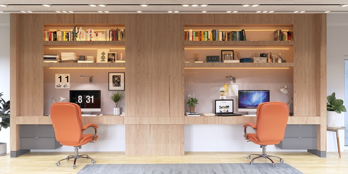 36 Inspirational Home Office Workspaces That Feature 2 Person Desks With Images Office Furniture Layout Home Office Layouts 2 Person Desk