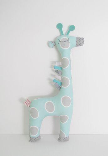 Peluche doudou Girafe ton bleu turquoise gris et blanc à motifs et - deco chambre turquoise gris