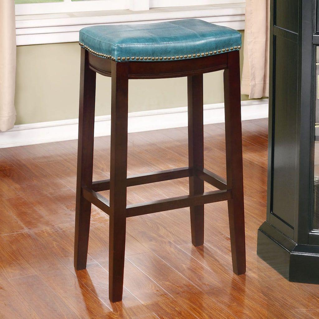 Amazing Linon Claridge Bar Stool Blue Products Bar Stools Andrewgaddart Wooden Chair Designs For Living Room Andrewgaddartcom