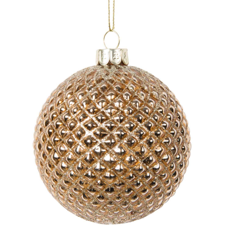 Weihnachtskugel Aus Glas Kupferfarben In Steppoptik Hufflepuff