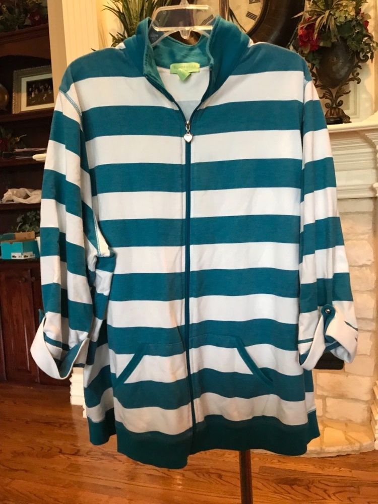 4c532e648f700 WOMENS PLUS SIZE ATHLETIC ZIP FRONT JACKET BLUE   WHITE STRIPE BY SILVERWEAR  3X  fashion  clothing  shoes  accessories  womensclothing  activewear (ebay  ...