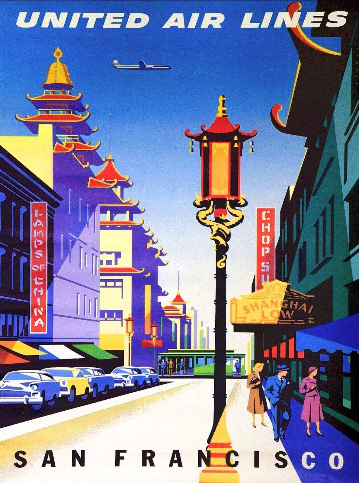 San Francisco California Air Vintage United States Travel Advertisement Poster