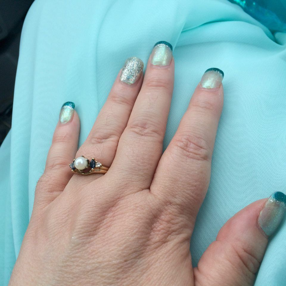 Sparkle pale blue nails with silver sparkle ring finger nails and ...