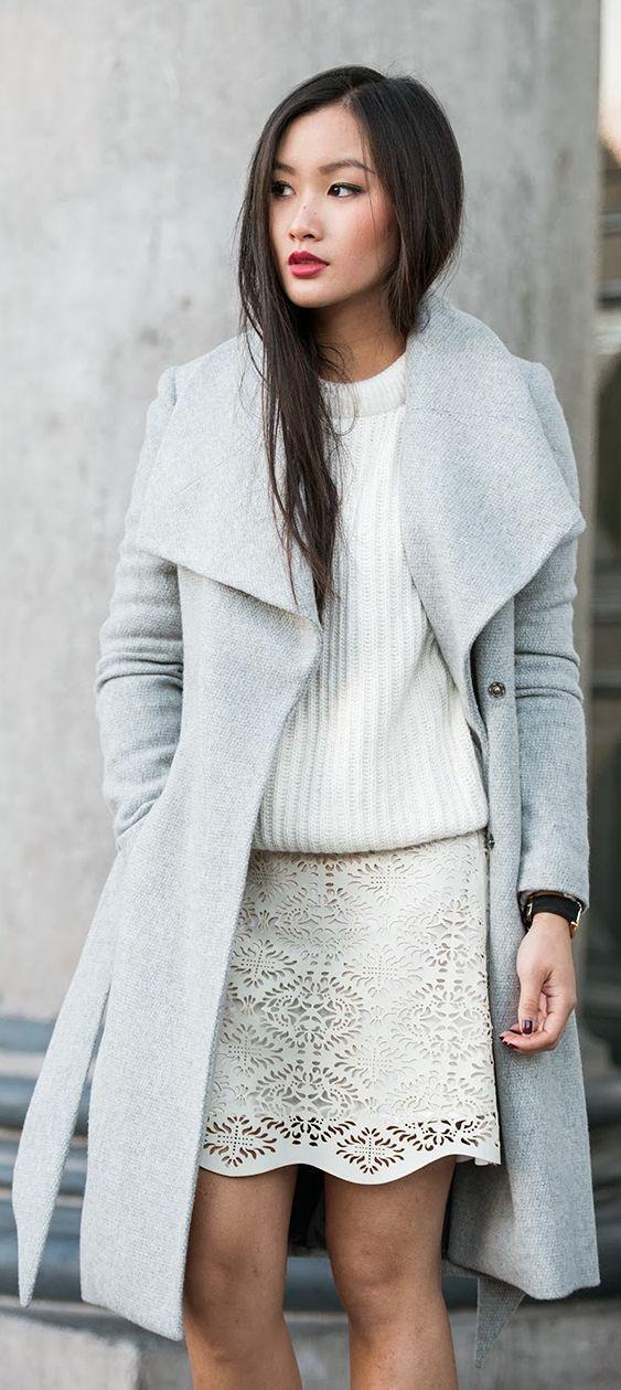 tenue blanche, manteau gris - grey coat   Tenues en 2018   Pinterest ... 1e4754ba30c5