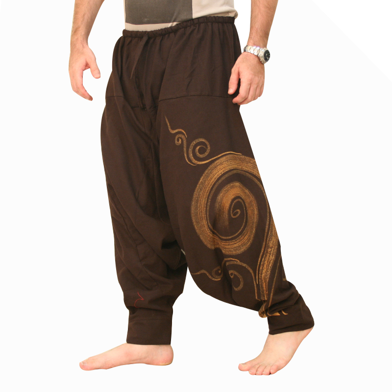 New Unisex Embroidered Hippie Trousers Spiral Harem Pants up to Plus Size