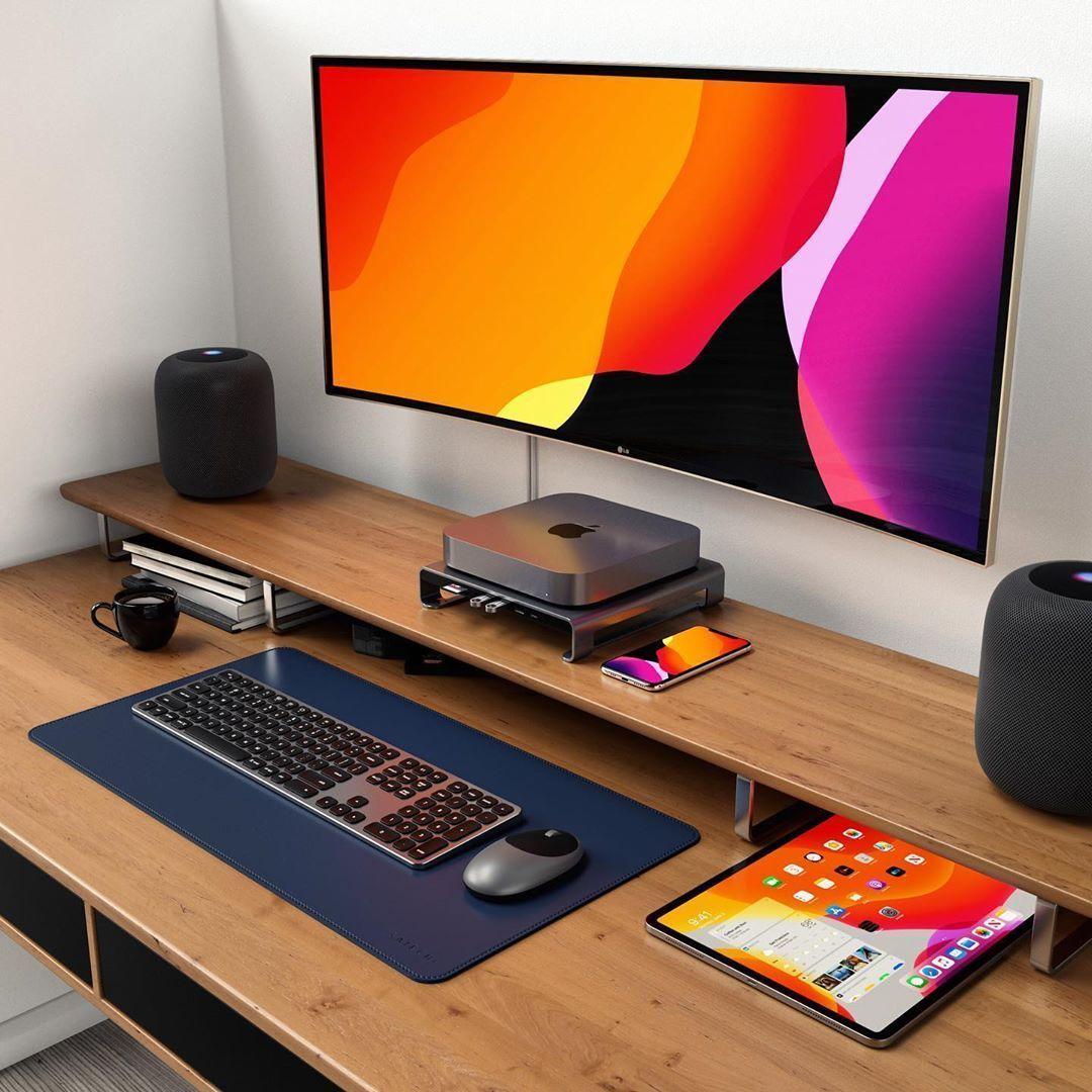 Setup Mac Mini Home Office Setup Computer Desk Setup Office