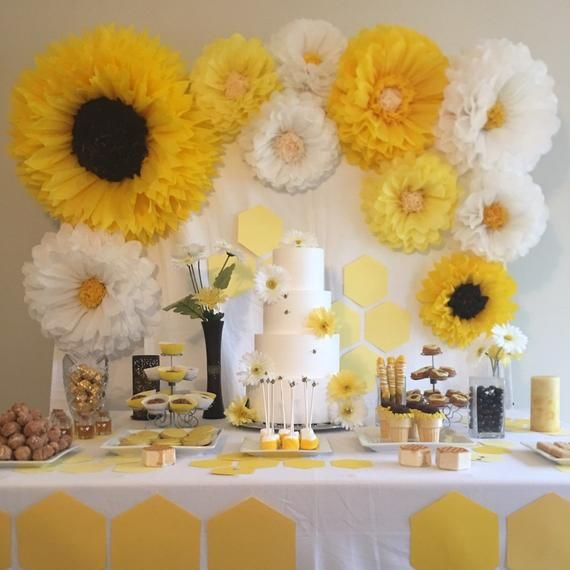 Giant Yellow White And Sunflower Paper Flower Set Beautiful For